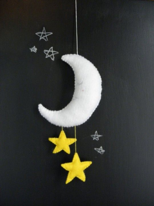 Felt Moon and Stars Mobile - The Lady Bird Tree