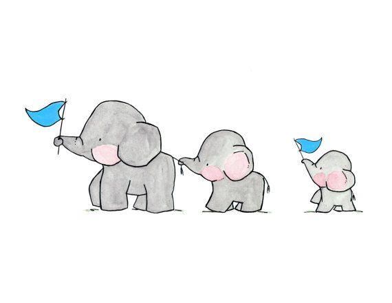 Elephants on Parade Archival Print by ohhellodear on Etsy