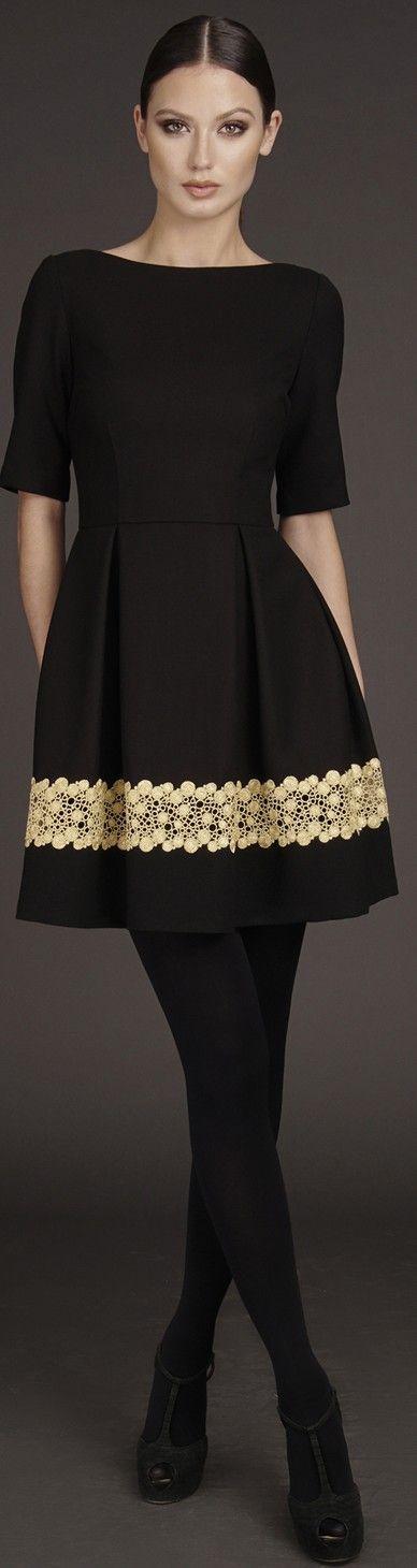 Latest fashion trends: Designer fashion | Nha Khanh black and gold chic dress