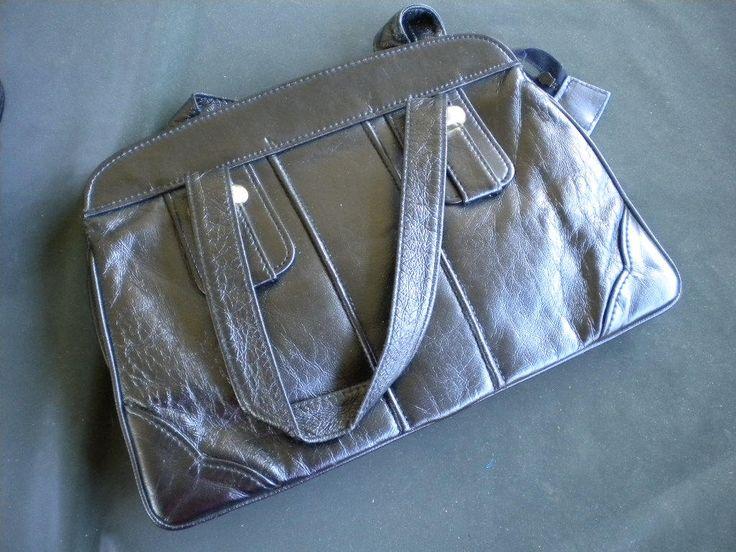 uralte Handtasche, schwarze Ledertasche,2 Tragegriffe, 3 große Innenfächer, 1 Geldbörsenfach mit RV, Retro-Tasche, Vintage, Rarität