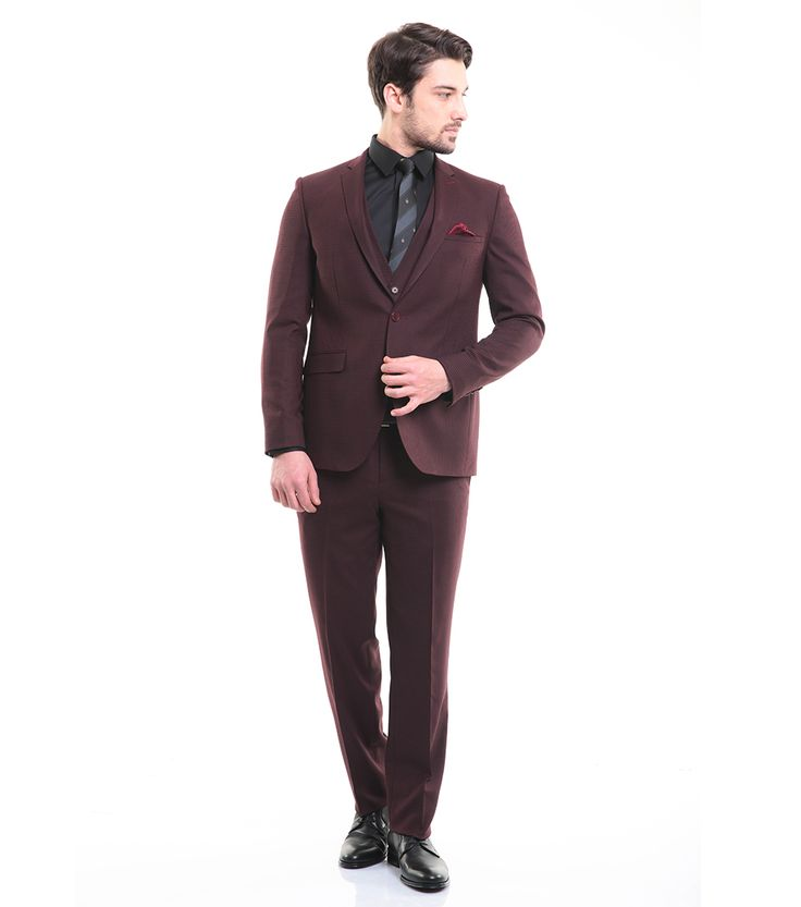 Toss Erkek Extra Slim Fit 6 Drop Klasik Yelekli Takım Elbise - Bordo