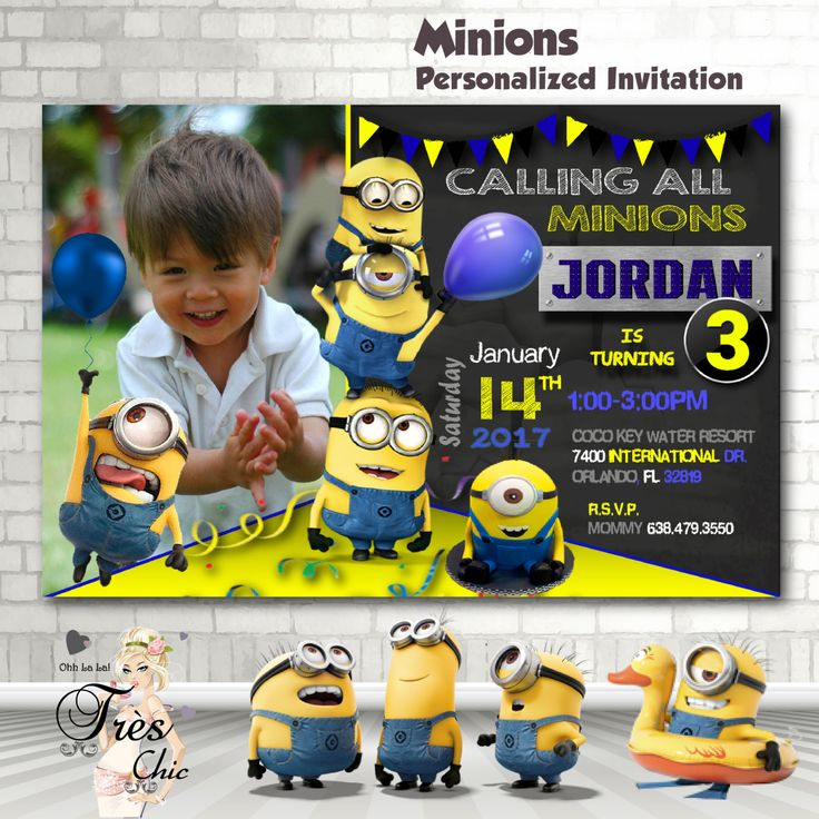 Minion Invitation,Minion Birthday Invitation,Minion Birthday Party Invitations,Minions,1st Birthday,2nd Birthday,3rd Birthday,Minions by OhhLaLaTresChic on Etsy