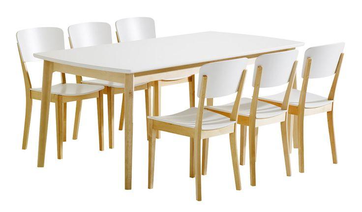 Olivia Pöytä 180x90 ja 6 tuolia puuistuin Luonnonvärinen koivu/valk