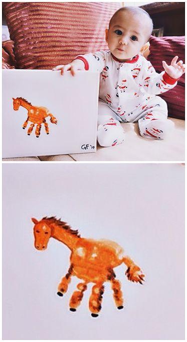 Handprint Horse Craft for Kids and Babies // Manualidad de caballo con huella de la mano