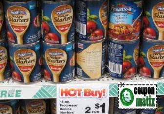 There is an excellent new $.50 Progresso Recipe Starters Cooking Sauce coupon available! Dollar Tree sells these for $.50, so head over there to get some for free!  Progresso Recipe Starters 2/$1 Use $.50 Progresso Recipe Starters coupon here Final Price: Free!