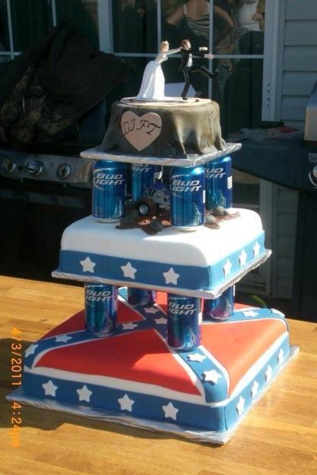 Beer Can Rebel Redneck Wedding Cake