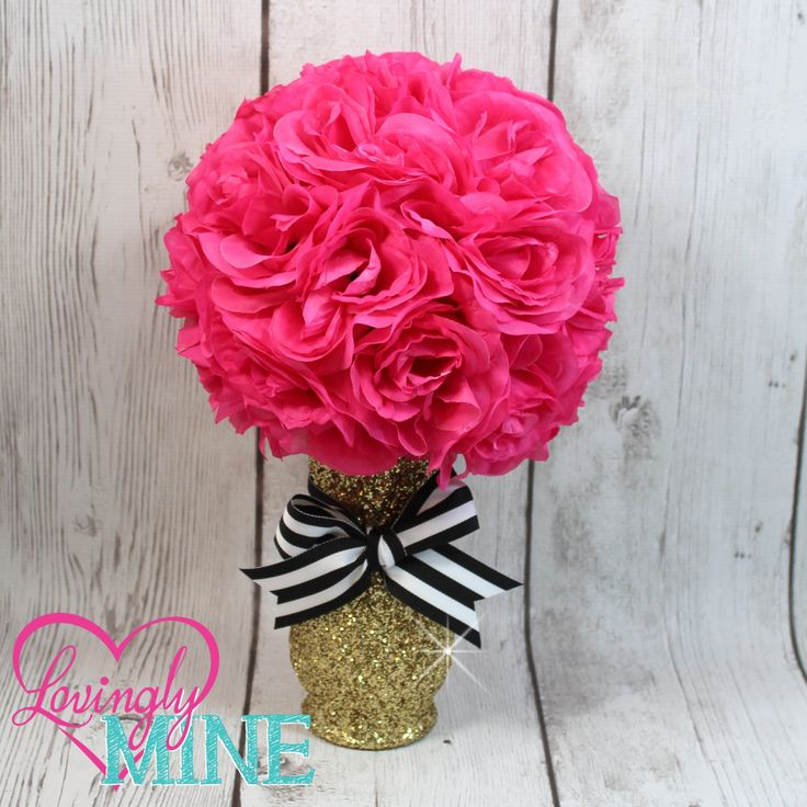 Kate Spade Inspired Centerpiece Glitter Gold Glass Vase, Hot Pink Faux Silk Rose Pomander with Black & White Stripped Ribbon - Birthday, Baby Shower, Bridal by LovinglyMine on Etsy