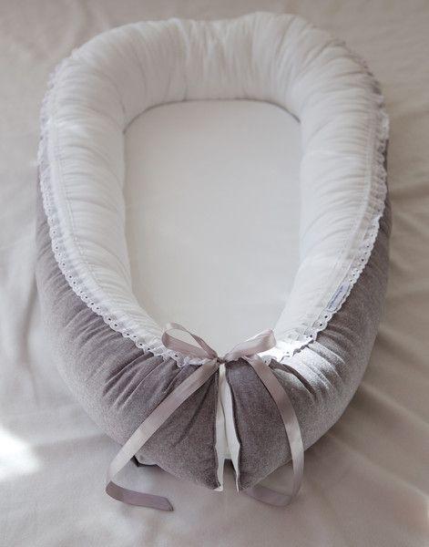 Nestchen - Babynest  Grau meliert - ein Designerstück von KleinerTraeumling bei DaWanda