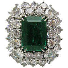 4.68 Carat Zambian Emerald Cut Emerald and Diamond Ring in Platinum