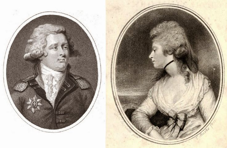 Perdita and Florizel - Mary Robinson's affair with the Prince (to be Regent), via Rachel Knowles at Regency History. Left: Florizel - George, Prince of Wales from The Lady's Magazine (1792)  Right: Perdita - Mary Robinson from The Poetical Works of   the late Mrs Mary Robinson (1806)
