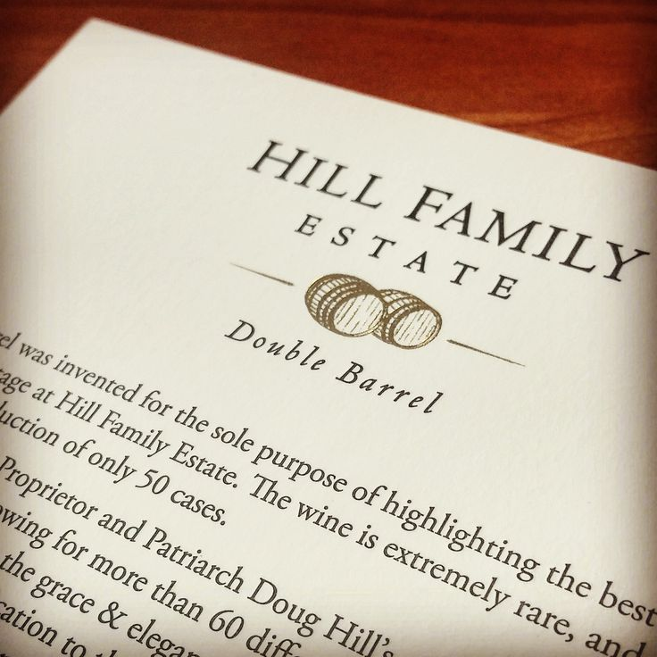 Gold foil stamped information cards printed on 2-ply cotton lettra, with gold edge painting for a Hill Family Estate wine club shipment. #hillfamilyestate #foilstamped #businessprinting