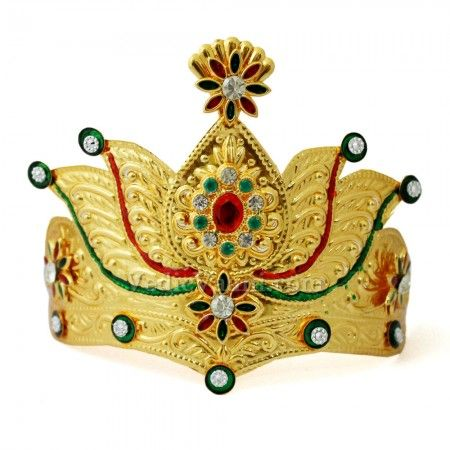 Meenakari Mukut for god and goddess idols online from VedicVaani.com and enhace the look.