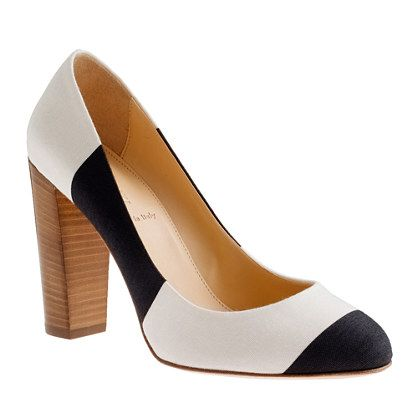 black and white and stacked heel