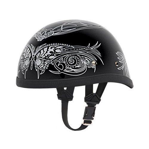 Silver Butterfly Skull Cap Novelty Motorcycle Half Helmet [X Large