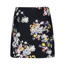 Erdem Floral Mini Skirt - Black Skirt - ShopBAZAAR