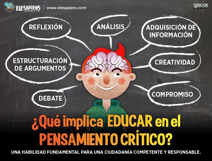 Educar en el pensamiento crítico implica... debate, argumentación, reflexión… Una forma de guiar al alumno para dar un paso más allá en su proceso de aprendizaje consiguiendo de él una madurez suficiente para poder defender y argumentar por sí mismo lo aprendido.