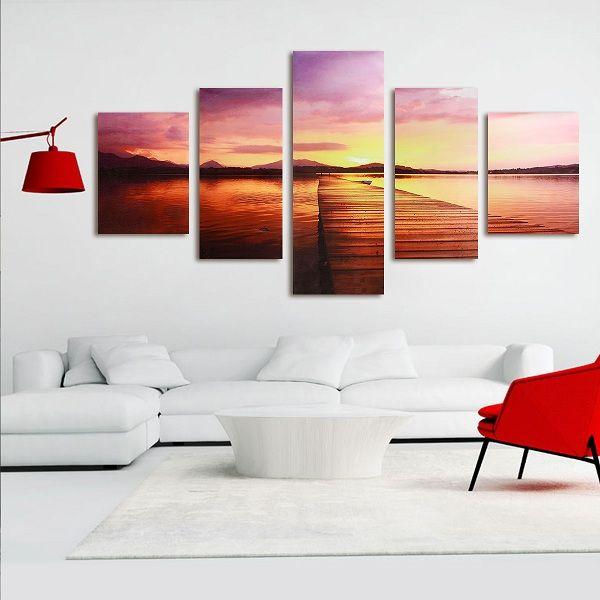 5Pcs Artistic Dusk Twilight Bridges Hanging Paintings Canvas Home Decor Wall Art - Newchic