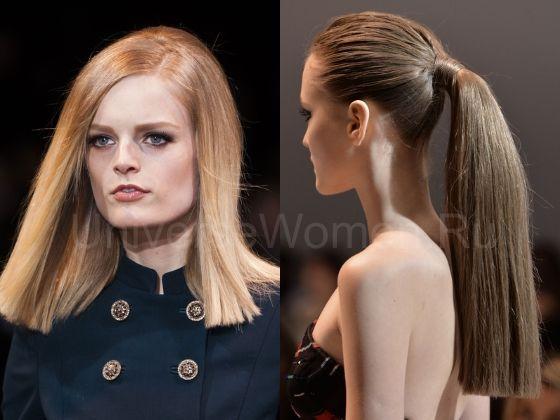 Модные женские стрижки зима 2015 на длинные волосы  Стрижки зима 2015 на длинные волосы более разнообразны, чем в предыдущем сезоне. Во-первых, это традиционные прямые стрижки, с подчеркнуто ровным краем и отсутствующей челкой. Такой вариант приглянулся стилистам модных домов Alexander McQueen, Valentino и Rebecca Minkoff.