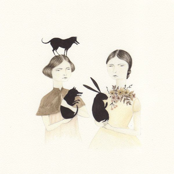 Two Girls & Friends print by Julianna Swaney, Oh My Cavalier.