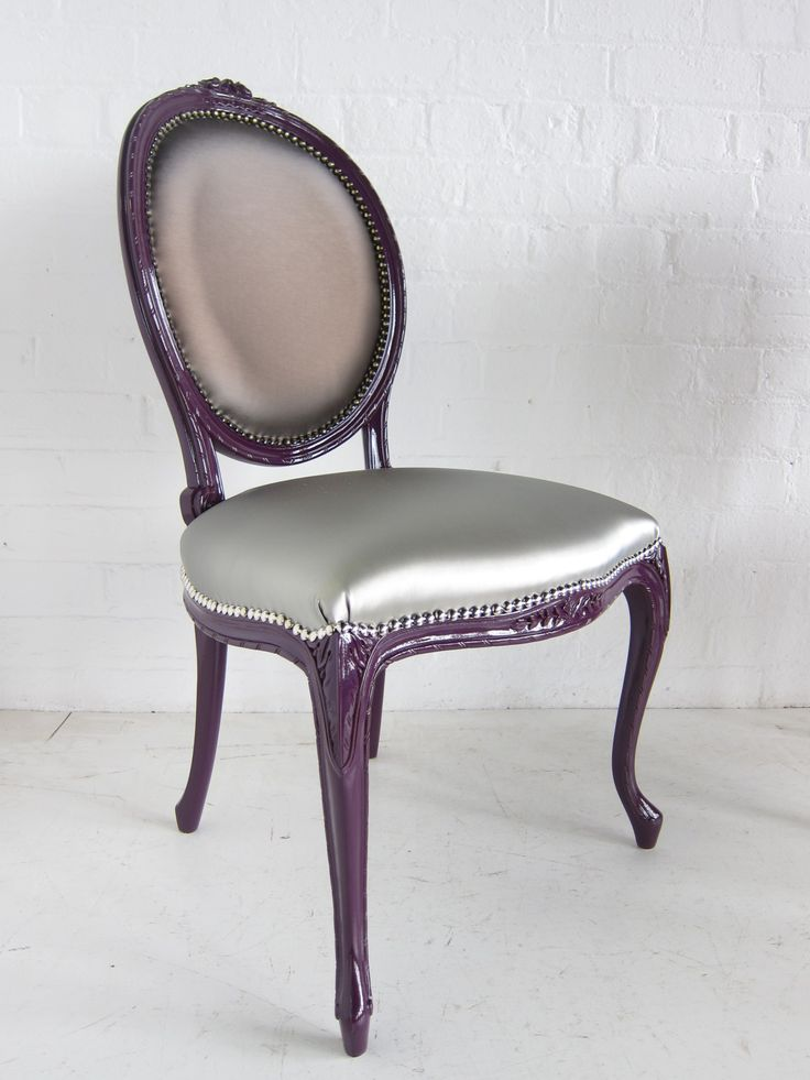 French oval dining chair painted purple by Dutch Connection  product code  CH449 www dutchconnection61 best Leather Faux Leather Upholstery images on Pinterest  . Purple Leather Dining Chairs Uk. Home Design Ideas