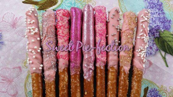 Chocolate Covered Pretzel Rods Princess Wands, Minnie Mouse, Dora, Treats, Kids Party Favors, Dessert Station - 2 dozen on Etsy, $24.00