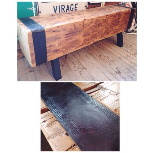 The boys from @m3cdemolitionto salvaged this gorgeous- close to 400 year old beam from a barn in Toronto. We decided to turn it into this lovely bench, And added two pieces of handcrafted / stamped leather straps as an accent to it. We only have a limited amount of this antique wood, so grab a bench while they're fresh in stock. Each bench varies in style and is made to order. #toronto #theartofdemolition #junctionto @m3cdemolitionto #salvage#repurpose #furniture
