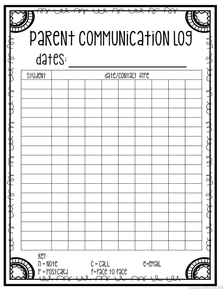 FREE spreadsheet to keep track of  POSITIVE parent contacts that is quick and easy to use.