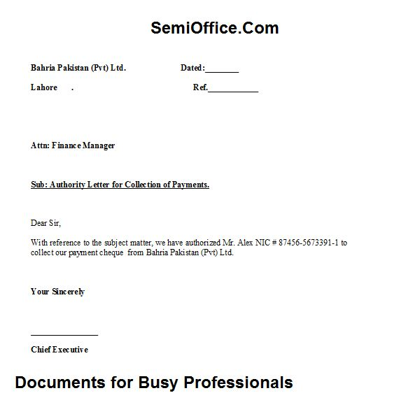 authority letter for payment collection free download - Payment Receipt Letter