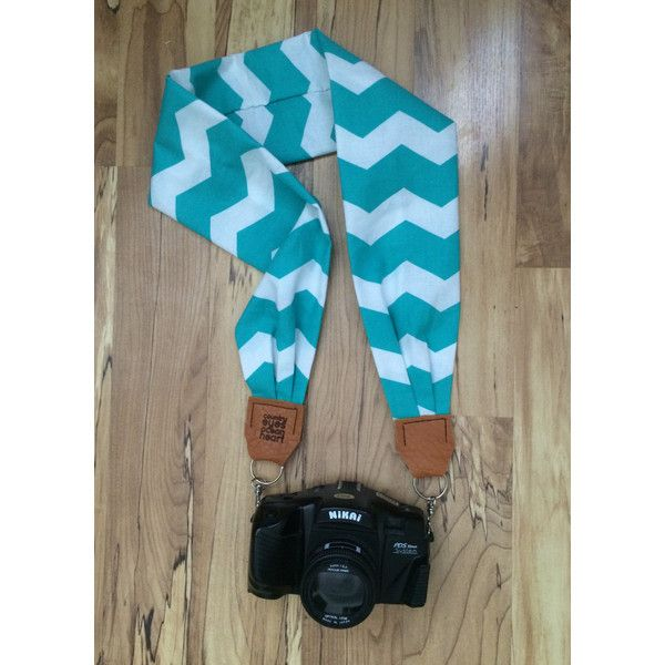 Teal& White Chevron Scarf Camera Strap ($30) ❤ liked on Polyvore featuring accessories, scarves, teal scarves, teal shawl, white scarves, white shawl and chevron scarves