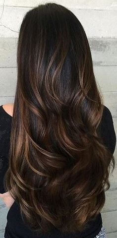 brunette hair color with caramel ribbons