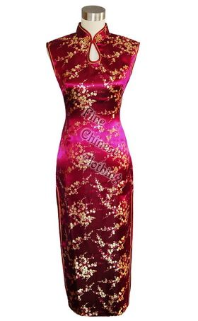 Big picture of Chinese Drop-water Plum Blossom Qipao - Maroon