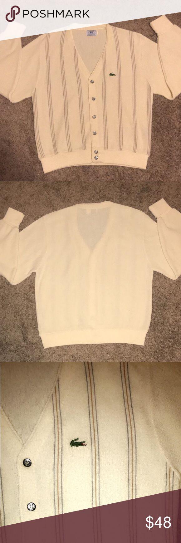 Men's Lacoste Cardigan Sweater Vintage IZOD x Lacoste cardigan sweater in excellent condition no flaws size Medium! (: Lacoste Sweaters Cardigan