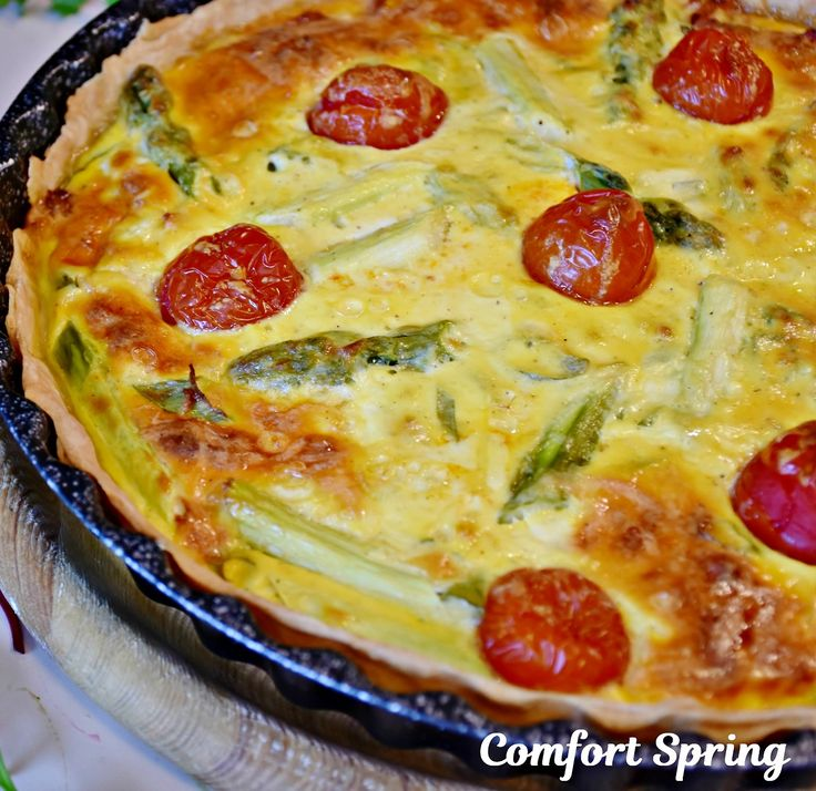 Asparagus & Tomato Quiche For Easter Fresh asparagus, cherry tomatoes, and basil cooked in a cheesy custard sounds perfect for breakfast, lunch, brunch, or even dinner. An asparagus Quiche is one of my favorites for an Easter brunch. For complete...