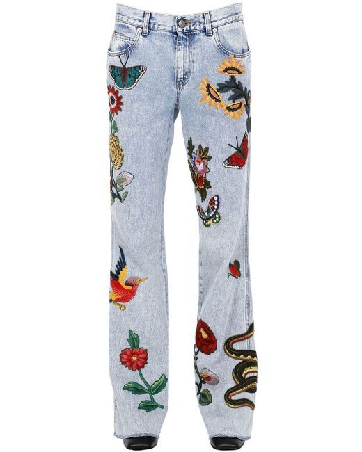 Gucci | Blue Flared Embroidered Patches Denim Jeans | Lyst