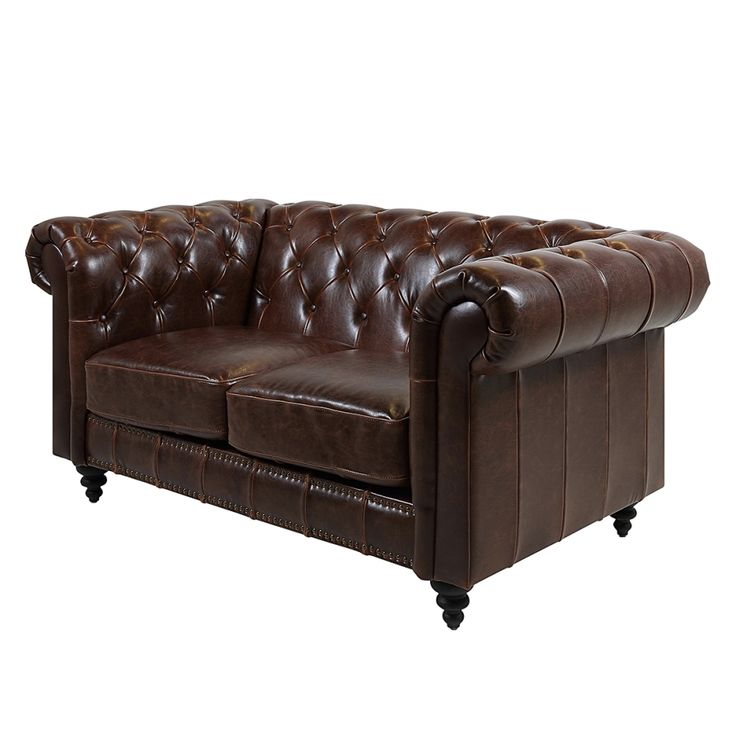 chesterfieldsofa charly 2 sitzer bycast leder braun. Black Bedroom Furniture Sets. Home Design Ideas