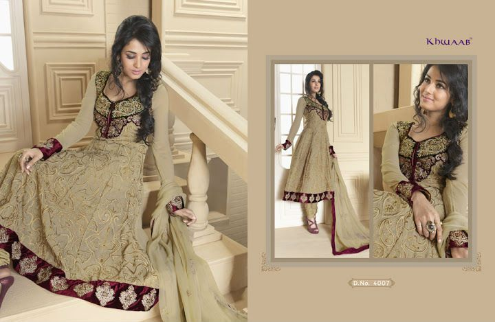 Bollywood style semi stitched salwar kameez comes with resham, zari embroidered  cut work.