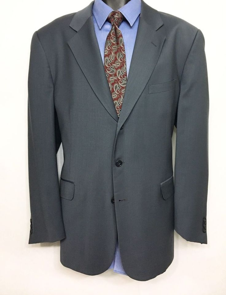 OLEG CASSINI Mens Gray Suit Jacket Size 44L | 100% Wool 3 Button Sport Coat #OlegCassiniGold #ThreeButton