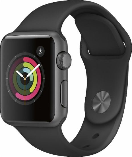 Apple - Apple Watch Series 1 38mm Space Gray Aluminum Case Black Sport Band - Space Gray Aluminum - Front Zoom