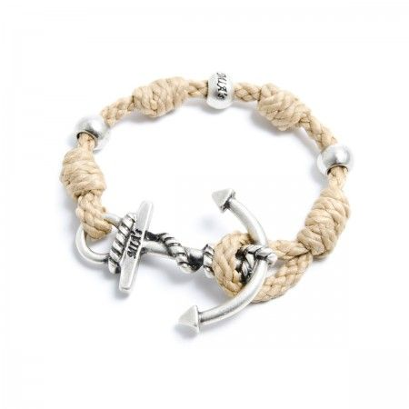 Adjustable Bracelet (up to 22 cm) spheres and anchorto choose between silver or gold. Bracelet Color: Beige Made in Italy