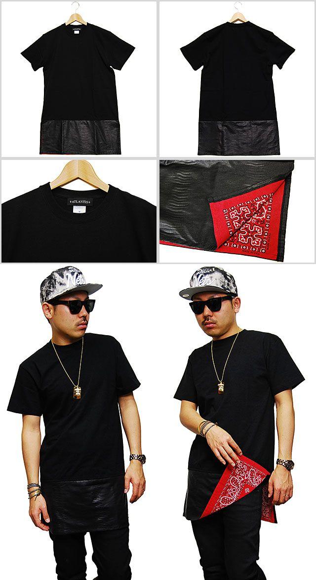 あす楽対応商品 ATLANTIS SNAKE PRINTED SKIRT TEE BLACK アトランティス レザー スカート Tシャツ ブラック 黒 半袖 革 皮 メンズ 男性 レディース 女性 HIPHOP ヒップホップ ストリート ブランド 通販