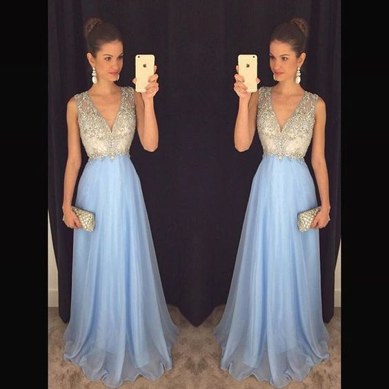 V Neck Prom Dress,Sexy Prom Dresses,Long Evening Dress,Beaded