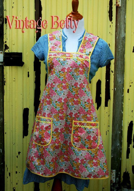 Instant Download Vintage Betty A Vintage Feedsack Style Etsy Aprons Patterns Retro Apron Patterns Vintage Apron Pattern
