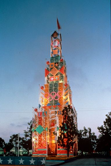 Tower graphics for the Los Angeles Olympics by Sussman/Prejza, 1984