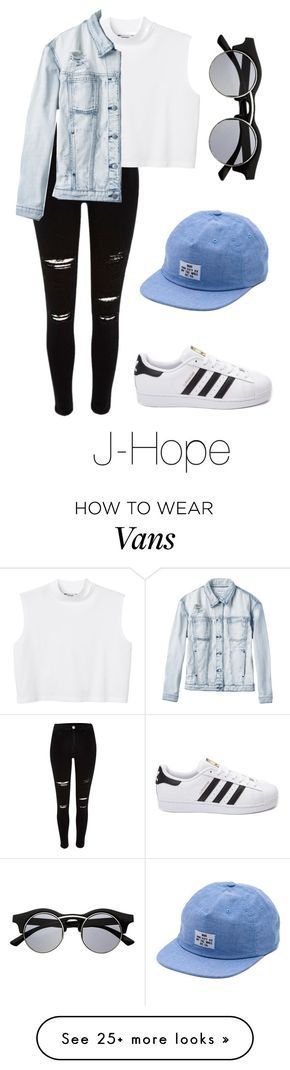"""""""J-Hope Inspired w/ Snapback"""" by btsoutfits on Polyvore featuring Monki, RVCA, Vans, adidas, Retrò, women's clothing, women, female, woman and misses"""