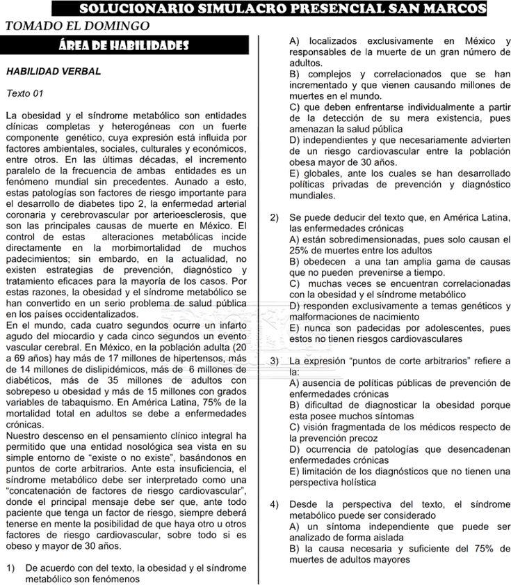 simulacro SAN MARCOS 2018 I examen admisión universidad con solucionario pdf UNMSM