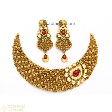 22K Gold Antique Necklace & Drop Earrings Set with Fancy Stones - 235-GS3043 - Buy this Latest Indian Gold Jewelry Design in 95.000 Grams for a low price of $5,295.99