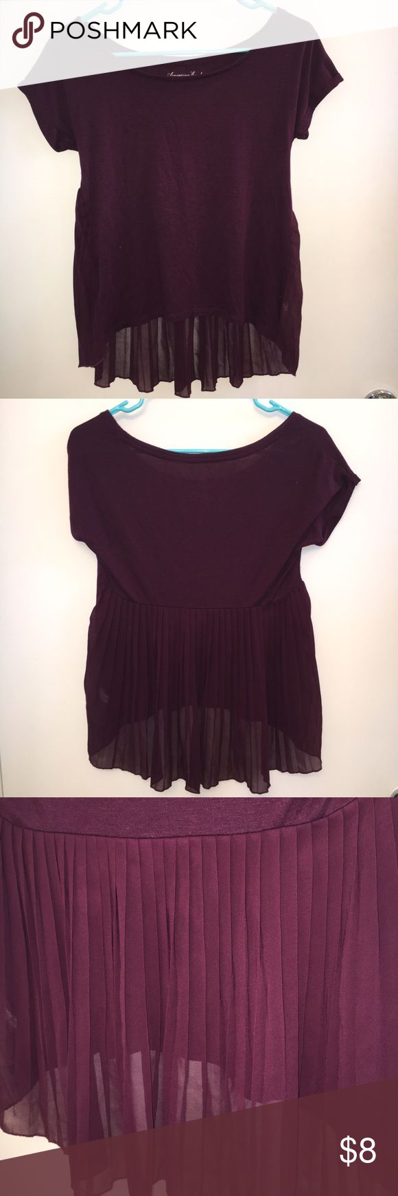 American Eagle Happy Hour Tee Burgundy, in excellent condition. American Eagle Outfitters Tops Tees - Short Sleeve