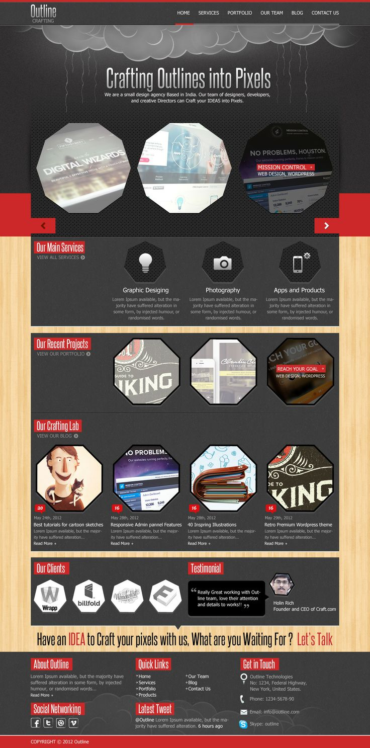 grey and red unusual web design
