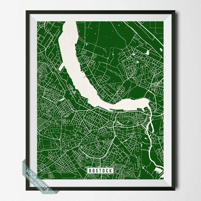 ROSTOCK, GERMANY STREET MAP PRINT by Voca Prints! Modern street map art poster with 42 color choices. Perfect for anyone who loves to travel or is away from home.