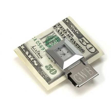 Time Piece Money Clip. Time truly is money with this luminous clock and stainless steel money clip combo. Engravable with two lines, 12 characters each.This item takes 3-4 business days to process before it ships === Christmas Shipping Cut Off (U.S. Only) === U.S. Std/Ground: Dec. 8th (11:59pm PST) === U.S. 2-Day Express: Dec. 13th (11:59pm PST)